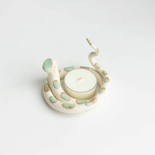 Ceramic Altar Snake with tea light candle