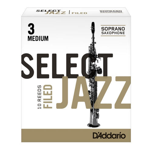 D'Addario Select Jazz Soprano Saxophone Reeds (Filed)