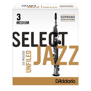 D'Addario Select Jazz Soprano Saxophone Reeds (Unfiled)