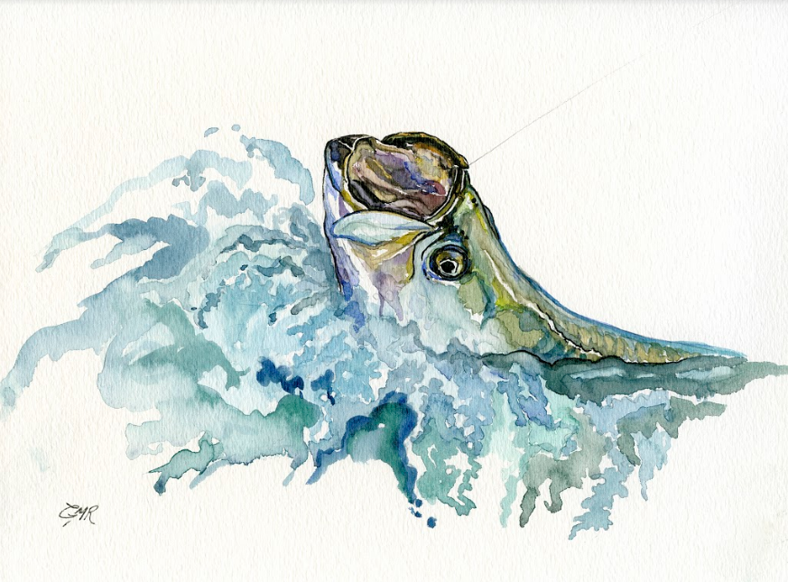 Watercolor Tarpon Breach - Print