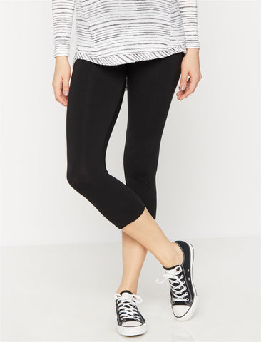 Luxe Essentials Secret Fit Belly Crop Maternity Leggings in Black
