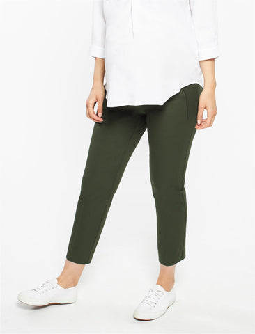 The Curie Secret Fit Belly Twill Slim Ankle Maternity Pant in Olive