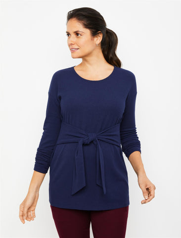 Dolman Sleeve Crepe Maternity Top in Peacoat