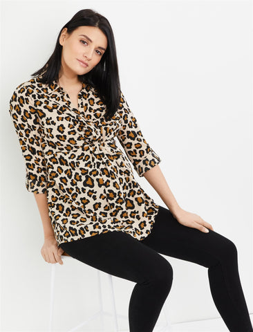 Button Front Maternity Shirt in Animal Print