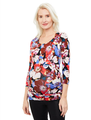 Side Ruched 3/4 Sleeve Maternity T Shirt in Multi Color Floral