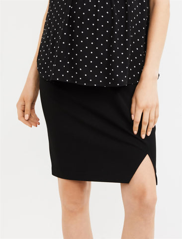 Secret Fit Belly Suiting Pencil Fit Maternity Skirt in Black