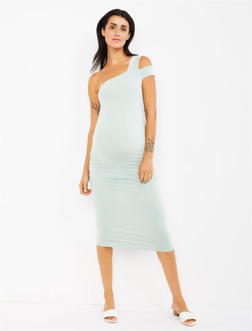 Isabella Oliver Brunswick One Shoulder Maternity Dress in Mint Green