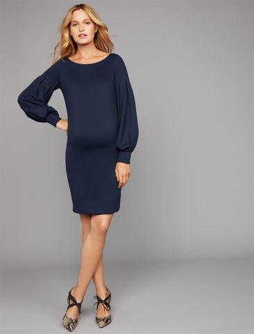 Pietro Brunelli Olga Ponte Maternity Dress in Dark Navy
