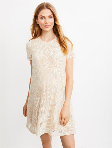 BCBGMAXAZRIA Lace Short Sleeve Maternity Dress in Corozo