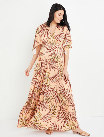 Rachel Pally Palm Print Caftan Maxi Maternity Dress in Palm Print