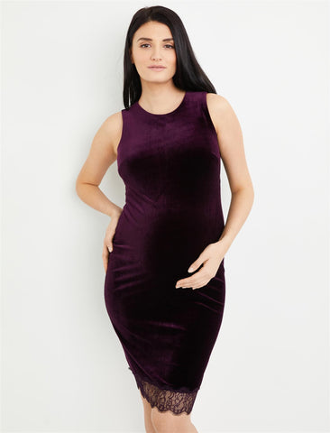 Lace Trim Velvet Maternity Dress in Pretty Plum