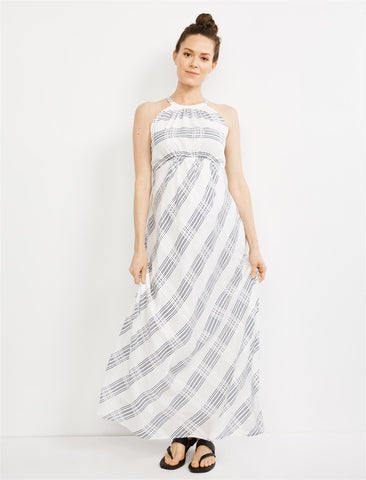 Halter Plaid Maxi Maternity Dress in White/Navy Plaid