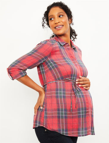 Plaid Button Front Maternity Shirt in Red Plaid