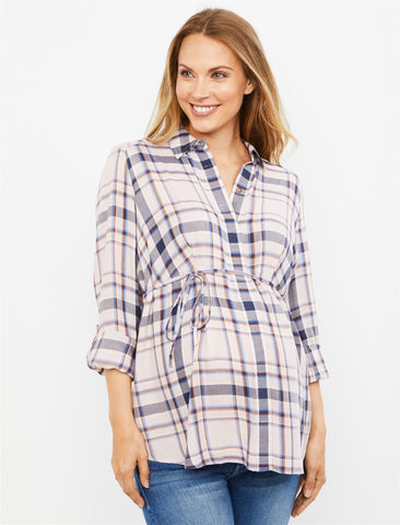Plaid Button Front Maternity Shirt in Pink Plaid