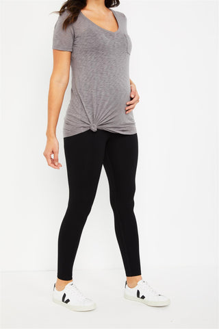 Secret Fit Belly French Terry Maternity Leggings in Black