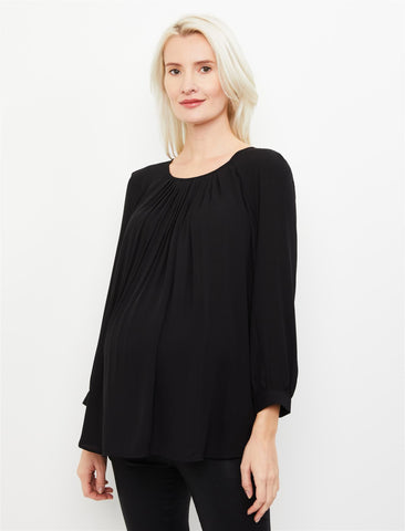 Keyhole Pleated Maternity Blouse in Black