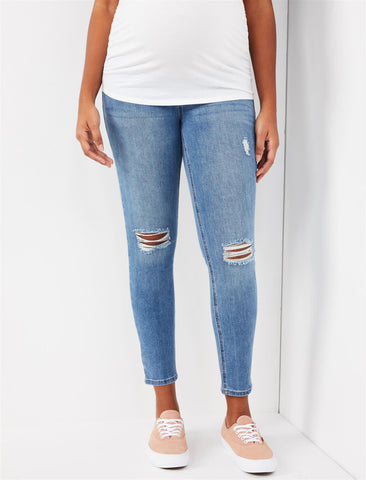 Indigo Blue Secret Fit Belly Super Stretch Skinny Maternity Jeans in Beech