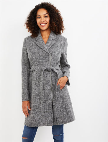 Belted Wool Maternity Coat in Grey