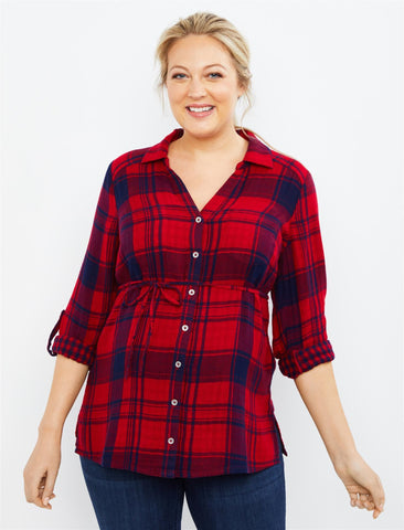 Plaid Button Front Maternity Top in Red Plaid