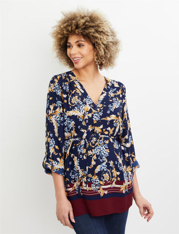 Removable Waist Tie Maternity Top in Multi Print