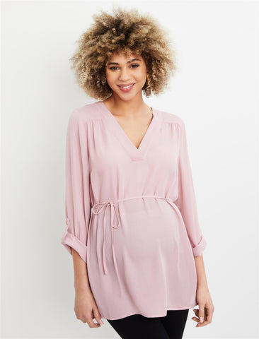Removable Waist Tie Maternity Top in Pink