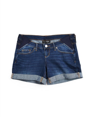 Side Panel Destructed Maternity Shorts in Indigo