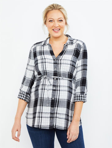 Button Front Maternity Top in White Plaid