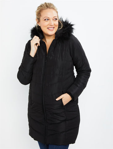 Expandable Quilted Puffer Maternity Coat in Black