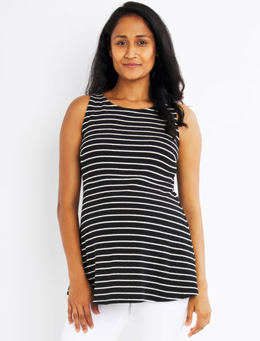 Keyhole Detail Maternity Top in Black/White Stripe