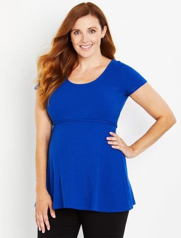 Peplum Maternity Top in Blue