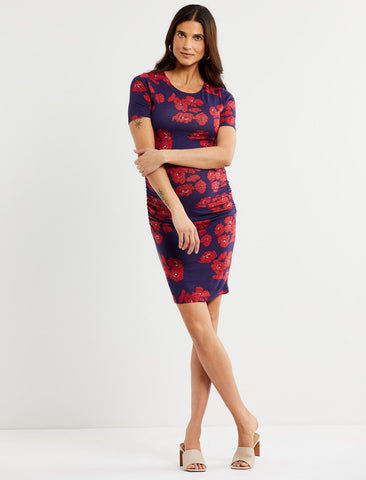 Luxe Side Ruched Maternity Dress in Navy/Red Floral
