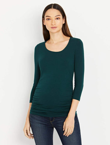 Side Ruched 3/4 Sleeve Maternity T Shirt in Ponderosa Pine