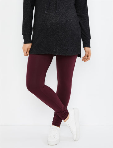 Essential Stretch Secret Fit Belly Maternity Leggings in Pinot Noir
