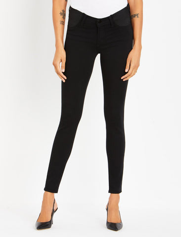 J Brand Side Panel Mama J Super Skinny Maternity Jeans in Seriously Black