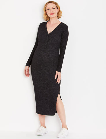 Henley Maternity Dress in Black