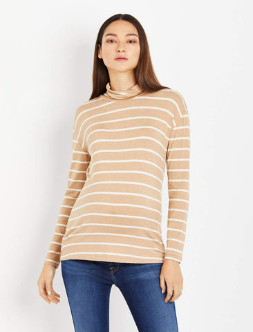 Turtleneck Striped Maternity Top in Tan Stripe