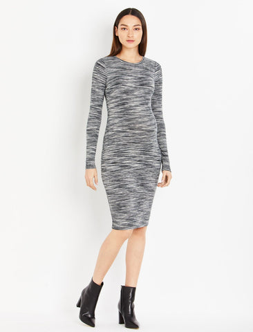 Spacedye Knit Maternity Dress in Black/Egret