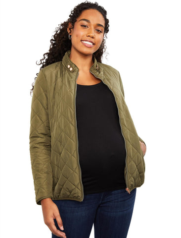 Quilted Puffer Maternity Coat in Olive