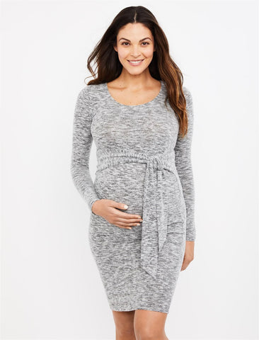 Sash Front Maternity Dress in Marl