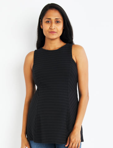 Textured Stripe Peplum Maternity Top in Black