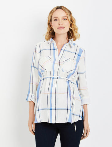 Button Front Maternity Blouse in White Multi Plaid