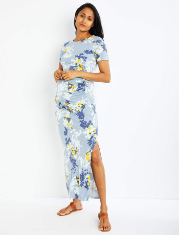 Lined Side Slit Maxi Maternity Dress in Blue Print