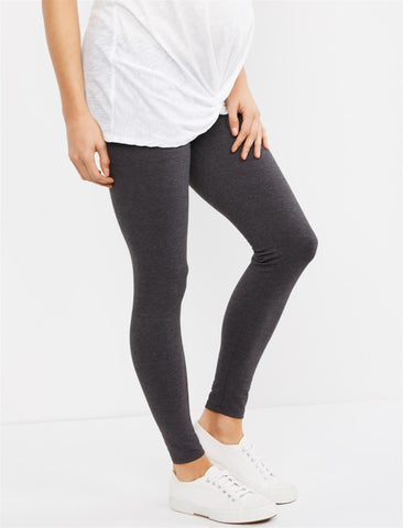 Essential Stretch Secret Fit Belly Heathered Maternity Leggings in Heather Charcoal