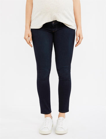 Paige Side Panel Verdugo Ankle Maternity Jeans - Dark Wash in Mona - Dark Rinse