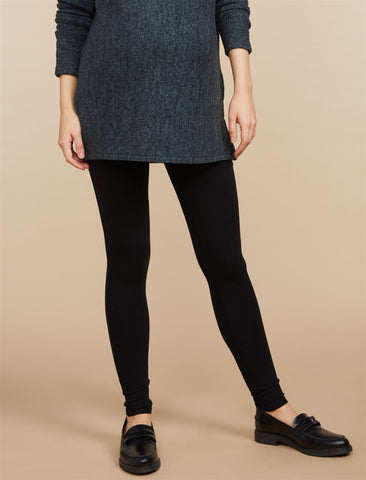 Secret Fit Belly French Terry Maternity Leggings in Core Black
