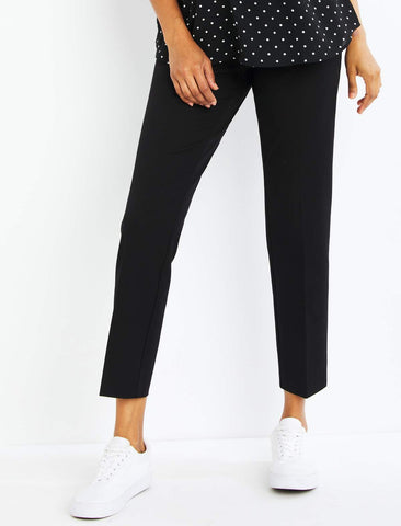 Side Panel Twill Straight Leg Maternity Pants in Black