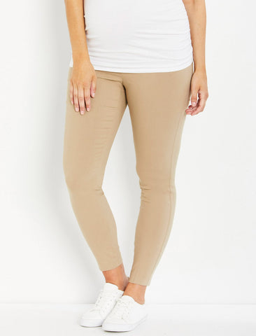 The Maia Secret Fit Belly Skinny Ankle Maternity Pants in Khaki