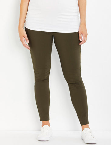 The Maia Secret Fit Belly Skinny Ankle Maternity Pants in Olive