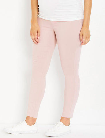 The Maia Secret Fit Belly Skinny Ankle Maternity Pants in Pink