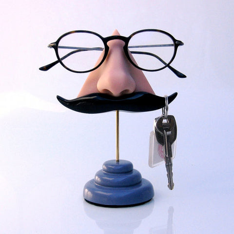 Nose Eyeglass Stand with Black Mustache Key Hook